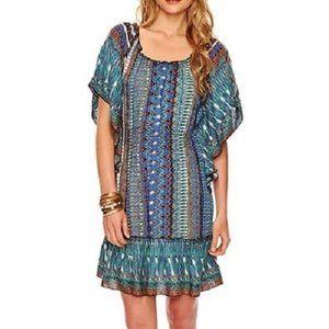 Fiesta Smocked Sundress Beachy Dress Blue Rayon